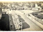 "Okretište tramvaja na Remizi za vrijeme gradnje robne kuće ""Nama"" - preneseno iz Monografije tramvaja tipa 101"