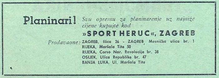 """Preslika oglasa u listu """"Naše planine"""" iz 1957. godine [VT 2019.]"""