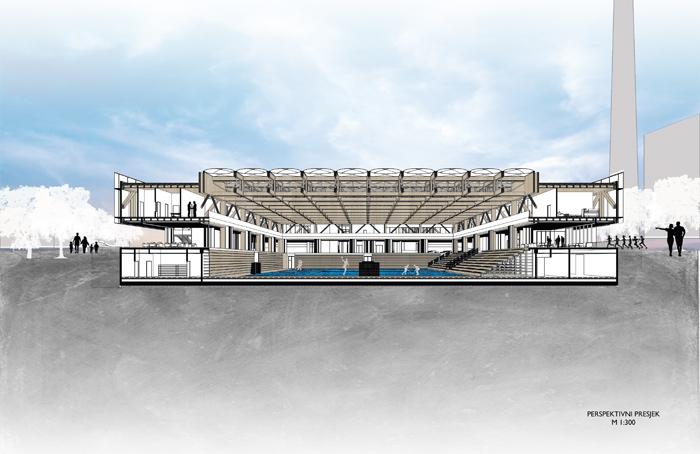 Projekt Hokejskog centra Zagreb – studentski rad Antonija Gamilca - perspektivni presjek