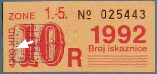 """Markica"" za ""radničku iskaznicu"" ZET-a za listopad 1992. [VR 2019.]"