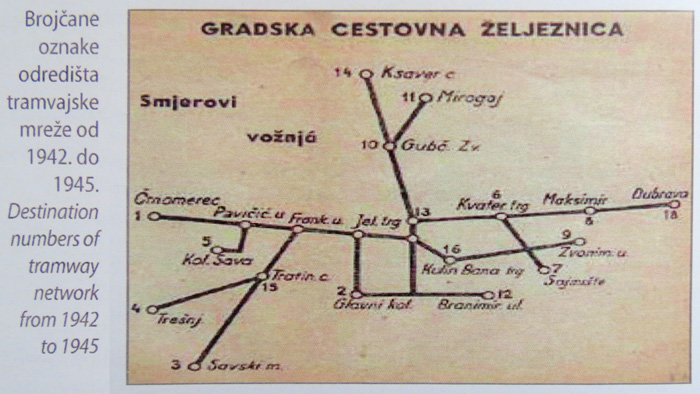 """Iz knjige """"Tramvaj u Zagrebu"""" - Skica mreže Zagrebačkog tramvaja (još bez Trnja) ~ 1945. [Trnje]"""