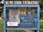 Oglasna ploča nekadašnje Mjesne zajednice Stara Trešnjevka uz Park Stara Trešnjevka [VR 2013.]