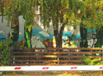 """Grafiti u sklopu vrtne terase kafića """"No sikiriki"""" [GP 2016.]"""