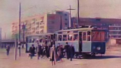 """Iz knjige """"Tramvaj u Zagrebu"""" - Tramvajska stanica kod novosagrađenog """"nebodera"""" u Držićevoj ulici ~ 1955. [Trnje]"""