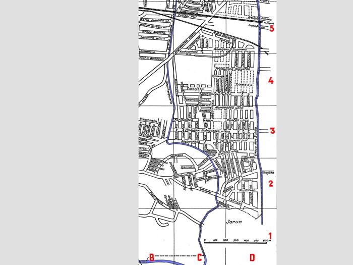 Dio plana općine Kustošija iz 1944. koji sadrži današnje Voltino naselje - Golikova ulica se tada zvala Jadranska [VR 2020.]