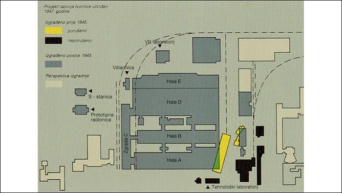 Plan razvoja tvornice Rade Končar utvrđen 1947. godine s označenim nazivima objekata.
