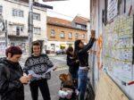 """Scena sa radionice """"Kreativno mapiranje – Trešnjevka kao osoba"""" uz voditeljice Mariju Biljan i Kristinu Musić [LM 2020.]"""