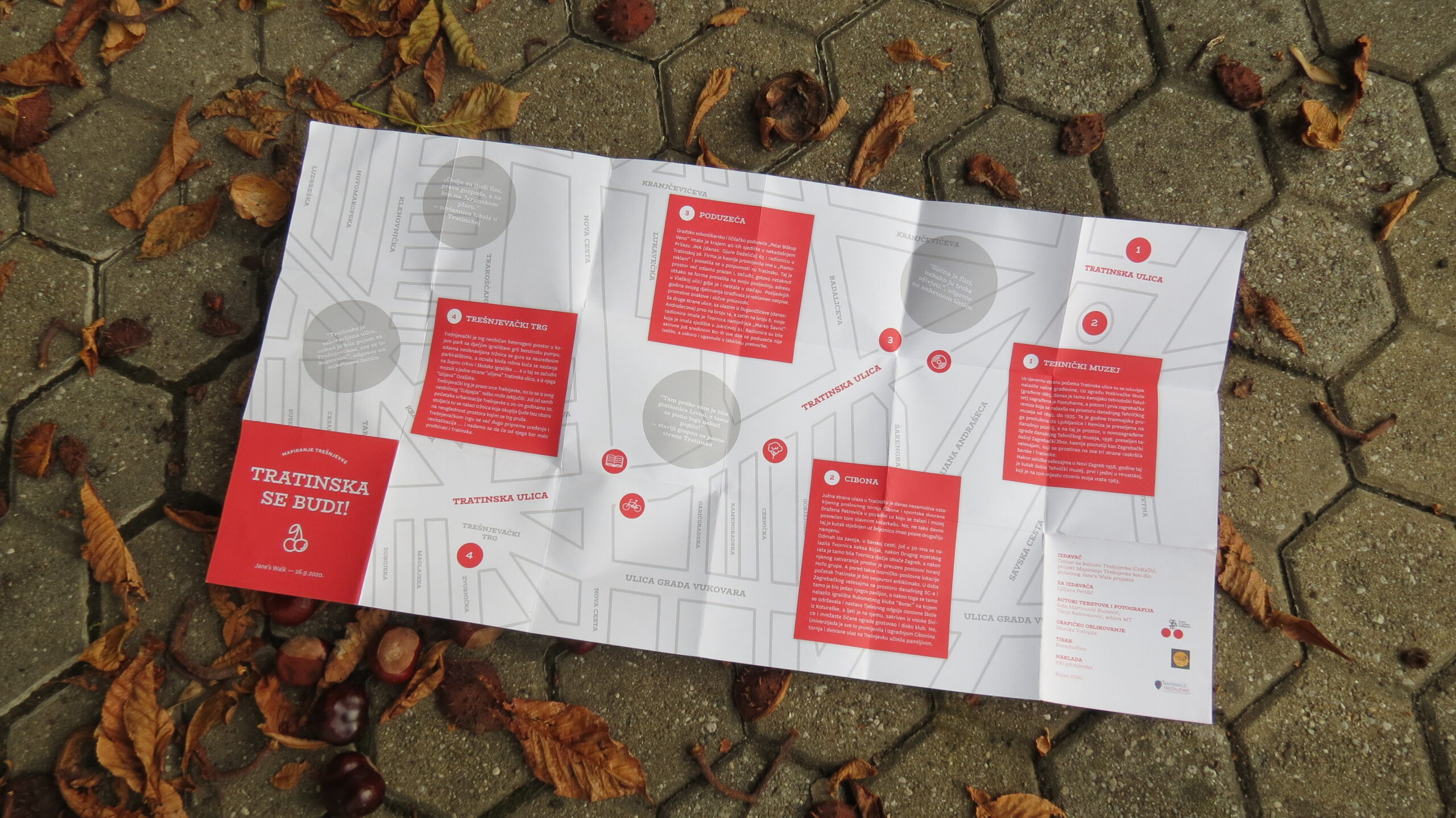 Karta Tratinske ulice sa prigodnim tekstovima posvećenim ulici, izrađena povodom akcije