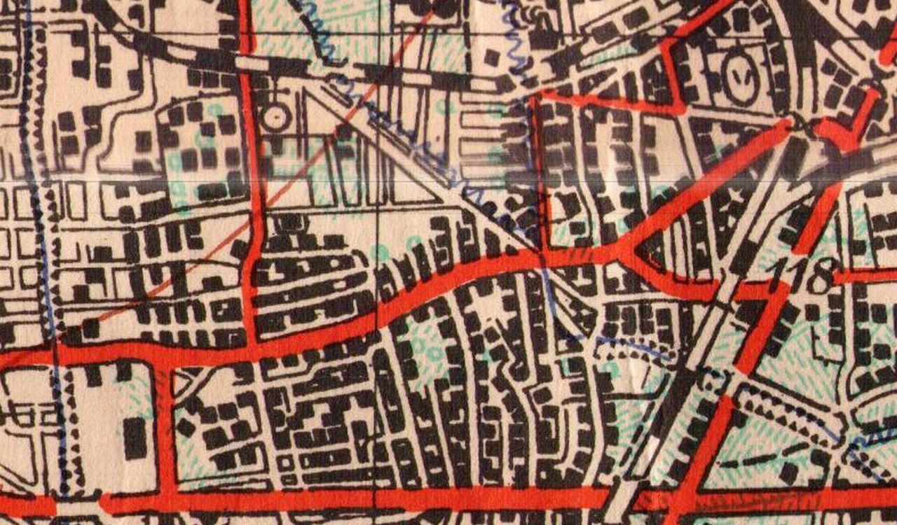 Djelić topografske karte iz 1955. sa prikazom dijela Stare Trešnjevke