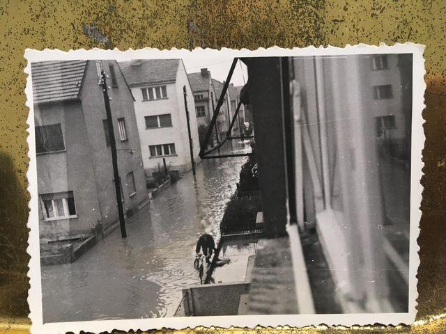 Pogled na Kraljevičku ulicu za vrijeme poplave 1964., snimljeno sa prozora Kraljevičke 12 [MB 1964.]
