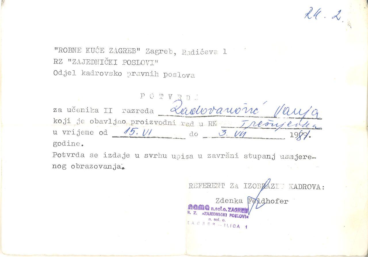 Potvrda o obavljenoj praksi nakon drugog razreda Trgovačke škole u Robnoj kući